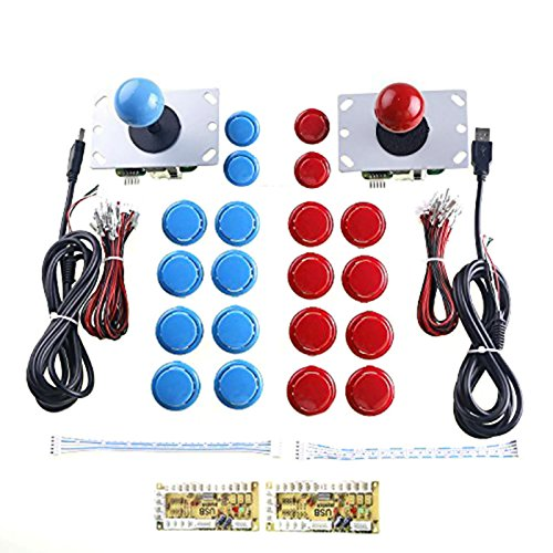 WINIT 2 Player Arcade Game DIY Parts USB PC Joystick for Mame Game DIY (2pcs Zero Delay USB Encoder/2pcs 5pin 8 Way Joystick /20pcs Push Button) Color Red + Blue Kits Support All Windows System -