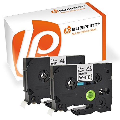 Bubprint 2 Cintas de Etiquetas Compatibles con Brother P Touch TZe231 TZ 231 1000 1000F 1005 1080 1800E 1230PC Laminadas Negro sobre Blanco 12mm x 8m