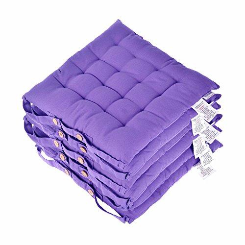 Homescapes Stuhlkissen 40x40 cm 6er Set lila Stuhlauflage mit Bändern und Knopfverschluss Bezug 100% Baumwolle mit Polyester Füllung - Lila Sitzkissen