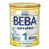 Nestlé BEBA Optipro 1 Anfangsmilch, von Geburt an, 1er Pack (1 x 800 g), Pulver, wiederverschließbar, mit praktischer Messlöffelablage, 800 g Dose
