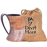 Boccale Vichingo in Corno Autentico Divit | Boccale con Coperchio per Birra Autentico e Medievale | capienza di 700 ml (24 oz) | Boccale in Corno della Migliore qualità (Jarl, Polished)