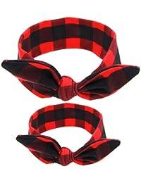 Kanggest 2Pcs Multi-Modelado Madre-Niño Conejo Orejas Banda Bowknot Hairband Turbante Accesorios para