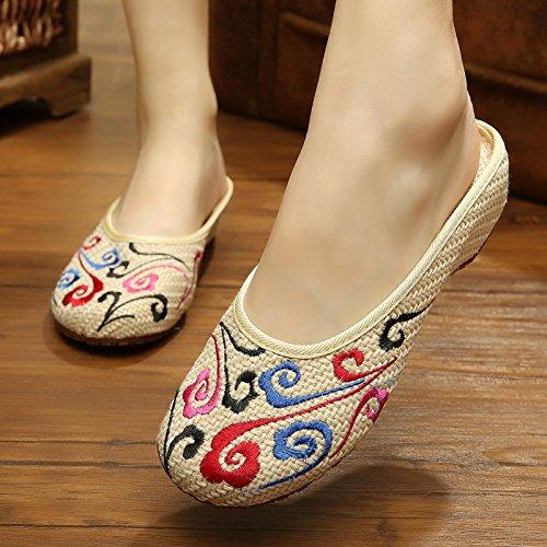 ZQ Gestickte Schuhe, Sehnensohle, ethnischer Stil, weiblicher Flip Flop, Mode, bequem, Sandalen Beige