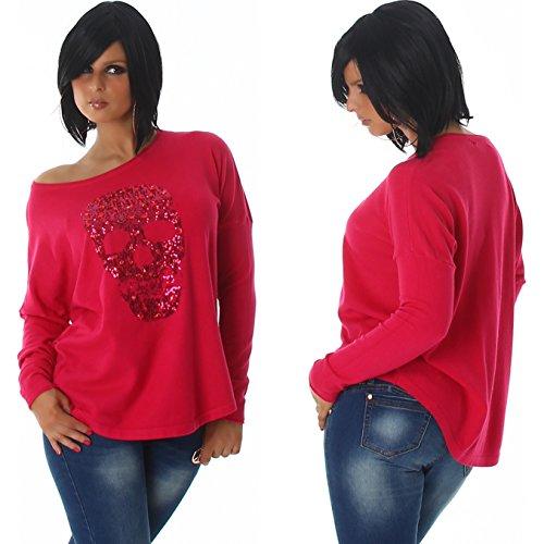 Voyelles Damen Totenkopf Glitzer-Pullover Pailletten Strass (34/36/38) Pink