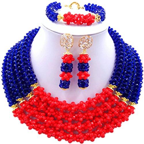Laanc Naturel Cristal Bijoux Définit 4rows 45,7cm Collier du Nigeria Mariage africain Bracelet de perles Boucles d'oreilles Red and Yellow