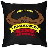 100 % Barbecue King is born, since 1954 zum 60. Geburtstag, Kissen mit Füllung
