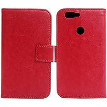 "Gukas Flip PU Billetera Design Para Elephone P8 Mini 5"" Funda De Carcasa Cartera De Cuero Case Cover Piel (Rojo)"