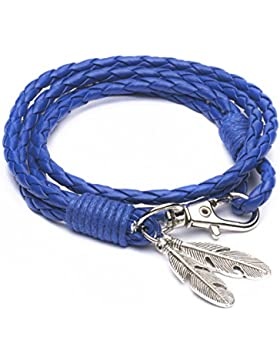 Mese London Vikings Armband geflochten tribal Twisted Envy Seil mit Federn Anhänger