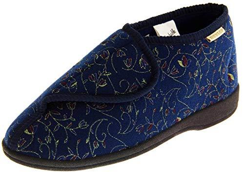 Footwear Studio Dunlop Donna Blu Marino Pantofole Di Fissaggio In A Strappo Ortopedica EU 38