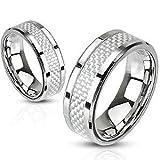 Autiga Edelstahl Ring Carbon Inlay Herren Damen silber silber-weiß 62 - Ø 19,76 mm 8 mm