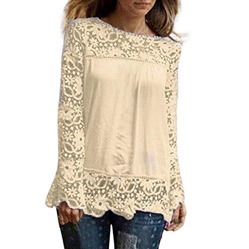 MRULIC Frauen Casual Basic Sommer T-Shirt Oberteile Kurzarm Damen Schönes Geschenk für Mama(S1-Beige,EU-48/CN-5XL)