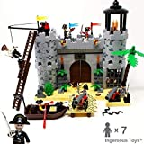 Ingenious Giocattoli Pirates Castello Attacco Royal Protezioni 7 Personaggi Barca Cannoncini/Costruzione Blocchi Giocattoli Set #310