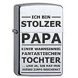 Zippo mit Gravur STOLZER PAPA in vier verschiedenen Ausführungen in exklusiver Geschenkschatulle, Zippo Modell:Chrome Brushed
