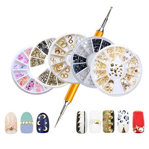 JasCherry 5 Boxes Strasssteine für Nägel mit Dotting Pen - 3D Misch Nagel-Kunst-Funkeln Rhine Scheibe Dekoration Edelsteine Kristall - Gold-gesichts-edelsteine