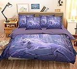 3D violett Fantasy Einhorn 127Betten Kopfkissen, Steppdecke Bettbezug Set Einzel Queen King | 3D-Foto Bettwäsche, AJ Tapete UK Sieben