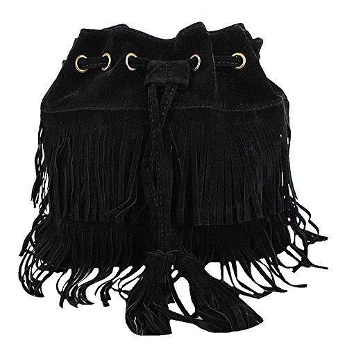Sun Kea Damen Umhängetasche, Hippie, Wildleder, Vintage-Stil, Quaste, (B-black), Einheitsgröße -