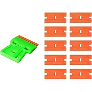 Ehdis® Safety Decal Scraper Mini démaquillant avec 10 extra 1.5 pouces à double ailette Lames en plastique léger pour les autocollants de film, la colle, la teinture à domicile