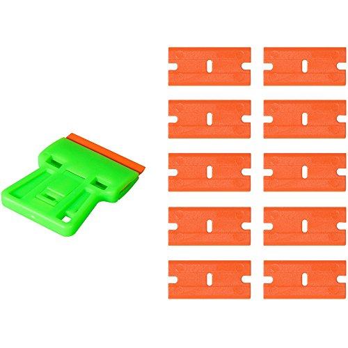 Mit Extra Licht Mini (Ehdis Safety Decal Scraper Mini Razor Remover mit 10 extra 1,5 Zoll Double-Edged Licht Plastic Blades für Film Aufkleber, Kleber, Car Home Tönung)