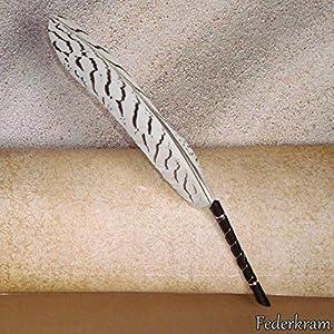 Kugelschreiber Feder Silberfasan weiß, Schreibfeder, Federkiel Vogel Stift schwarz