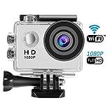 Sendowtek Sport Camera 1080P, 12M Full HD Action Camera WiFi Impermeabile Camera 30M (IP68) Immersioni con 170 Gradi Grandangolare, Moto Head Camera Ski Cam Compresi i Kit di Accessori Completi