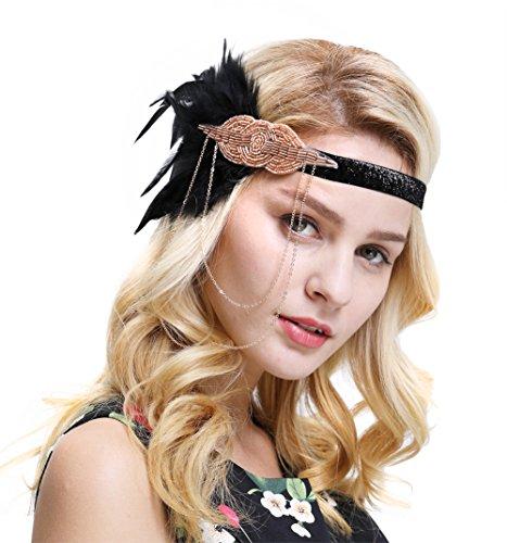 Retro Kopfstück Flapper Ketten Blumen Haarband Great Gatsby Haar Zubehör(Schwarz Champagner) (Blume Kostüm Für Frauen)