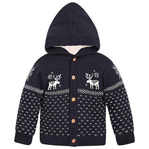 ZOEREA Baby Junge Mädchen Strick Mantel Watte Weihnachten warme Pullover Baumwolle Mützen Strickmütze Hüte mit Elch Hirsche Schneeflocke Muster Mantel (Blau, Körpergröße (Kostüm Muster Schneeflocke)