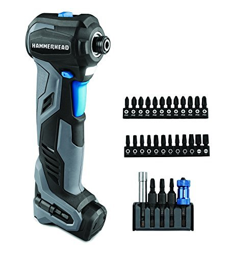 HAMMERHEAD HCID120-30 12V Compact Impact Driver/Auto Hammer with 30-pc Impact Bit Kit Combo by HAMMERHEAD