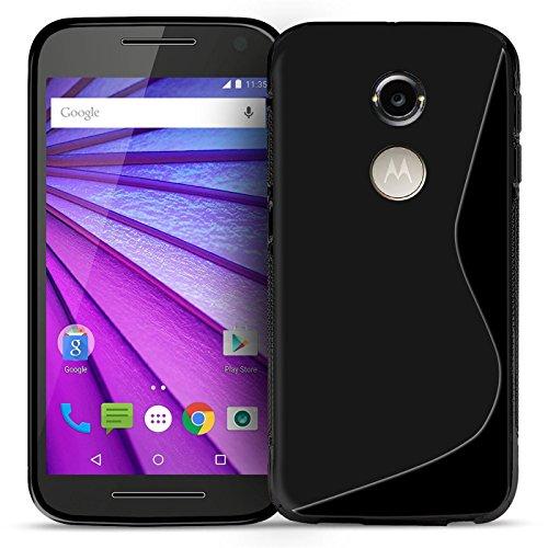 Conie Rückschale kompatibel mit Motorola Moto X 2. Generation, Schwarze Silikon Backcover Schutzhülle aus sturzsicheren TPU Kratzfest Kantenschutz