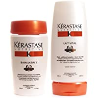 Kerastase SHAMPOO CONDITIONER COMBO NUTRITIVE BAIN SATIN 1 8.5oz AND LAIT VITAL 6.8oz by pH7