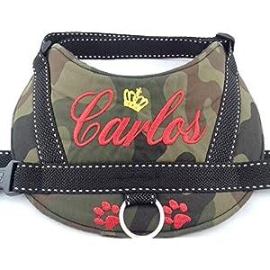 Hundegeschirr S M L XL XXL Brustgeschirr mit Wunsch Namen bestickt Camouflage rot Tarnung Optik für kleine, mittelgroße und große Hunde