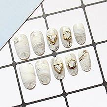 yunail 24Top blanco gris mármol remaches Stiletto largo completo uñas postizas Tips