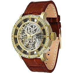 Moog Paris Chameleon Reloj Automático para Mujer con Esfera Esqueleto, Correa Marrón de Piel Genuina y Cristales Swarovski - M44692-115