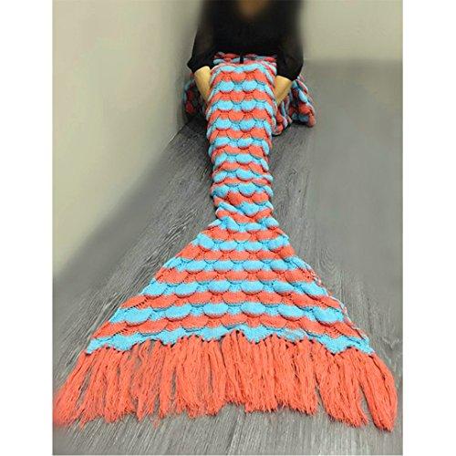 Handgemachte Mermaid Schwanz Decke, All Seasons Kinder Weiche Warme Steppdecke für Klimaanlage Schlaf Gestrickter Stoff Crochet Kleine Quasten Schlafsäcke (Orange)