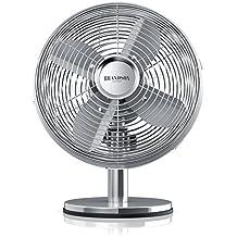 Brandson – Ventilatore da tavolo Silverline retró | 30cm diametro con 3 livelli di velocità | Oscillazione di 80 ° | Inclinazione regolabile di circa 40 ° | robusta scocca in metallo pieno | 30W | Cromata