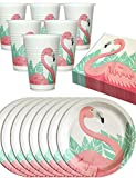 HomeTools.eu Flamingo Party Geschirr Set | angesagtes Flamingo Motiv | 8 Teller, 8 Becher, 20 Servietten | 36 Teilig