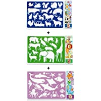 KOH-I-NOOR Set de 3 Stencils Plantillas Plástico Reutilizable Animales Safari, Ocean, Animales de la granja
