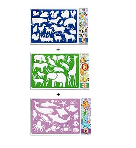 KOH-I-NOOR Set von 3Stencils Schablonen Kunststoff wiederverwendbar Tiere Safari, Ocean, Bauernhof