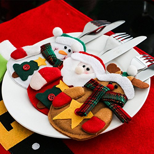 Kitchen Christmas Cutlery Suit Silverware Holders Pockets Knifes Forks Bag 6pcs Christmas Decoration Tableware Santa Claus Snowman Reindeer Clothes Cutlery Sets Party Christmas Gift