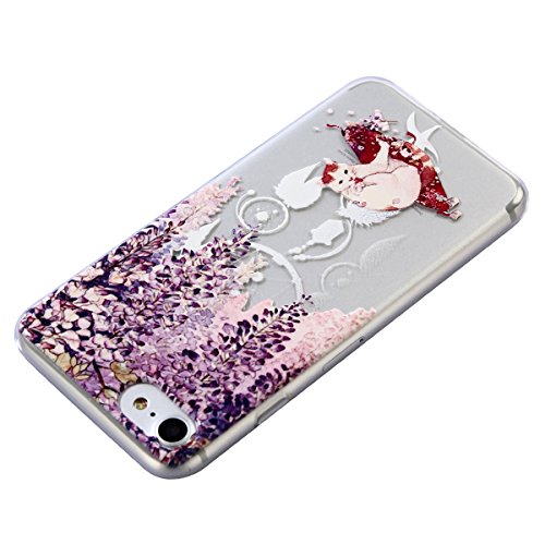 iPhone 7 Custodia, iPhone 7 Cover Silicone, JAWSEU Apple iPhone 7 4.7 Case Caso TPU Ultra Sottile Cristallo Chiaro Luminoso Bella Modello Brillante Trasparente Custodia Cover per iPhone 7 Protezione A Gatto Bianco