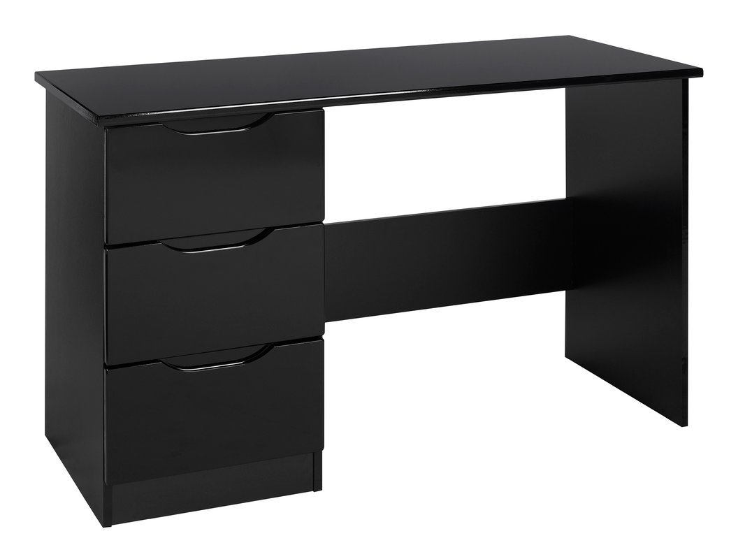 Stylish Design 3 Drawer Dressing Table Set with Luxurious Handles (Material: Wood, Fully Assembled) (Black Gloss)