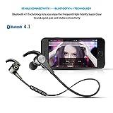 [Verbesserte Version] SoundPEATS Bluetooth Kopfhörer 4.1 Sport In Ear Kabellos AptX 8 Stunden Magnetisch mit Mikrofon Schweißfest geeignet für Jogging Fitness Workout Stereo Ohrhörer für iPhone Samsung und jedes andere Smartphone oder Bluetooth-Gerät ( Schwarz ) - 4