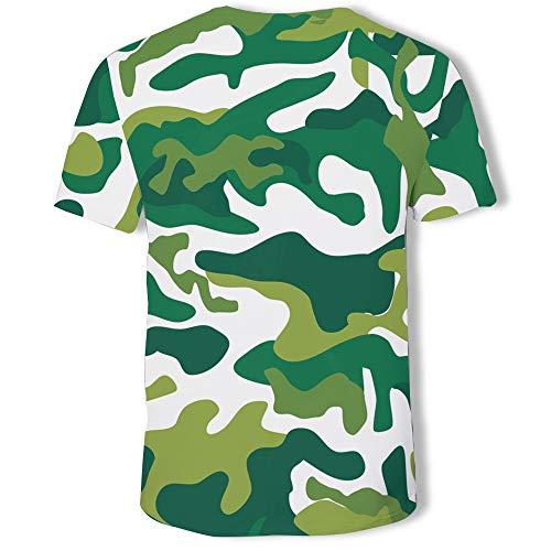 Effekt-jugend-t-shirt (ZLULU T-Shirt Sommer Herren Print Camouflage 3D Effekt Rollkragen Kurzarm Jugend Herren T-Shirt, 5XL)