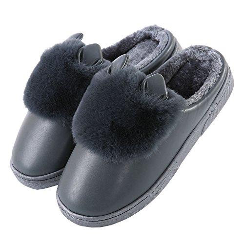 PU oreilles de chat mignon coton pantoufles à domicile-Unisexe hiver chaud peluche chaussures bootie Noir