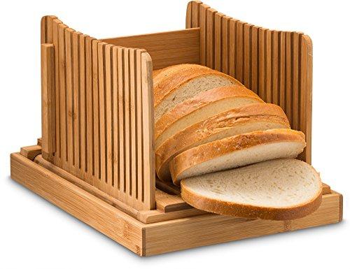Bambus faltbar Bread Slicer mit Crumb Catcher Tablett für die Scheiben, Holz-Handbuch, Bread Slicer, perfekt für selbstgemachte Brot und Brot Kuchen, flach zusammenklappbar für eine einfache Aufbewahrung von: bambüsi