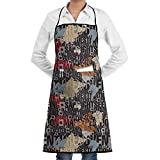 Drempad Delantal English Letter Bib Apron Chef Apron - with Pockets for Male and Female,Waterproof, Resistant to Droplets, Durable, Machine Washable, Comfortable, Easy Care Apron