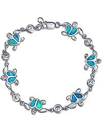 Bling Jewelry bleu Opale coeur Hawaiian nautique tortue de mer Bracelet CZ Silver