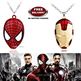 (2 Pcs AVENGER SET) - SPIDERMAN MASK & IRONMAN HELMET (GOLD/RED) IMPORTED PENDANTS WITH CHAIN. LADY HAWK DESIGNER SERIES 2018. ❤ ALSO CHECK FOR LATEST ARRIVALS - NOW ON SALE IN AMAZON - RINGS - KEYCHAINS - NECKLACE - BRACELET & T SHIRT - CA