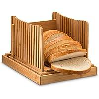 Bambú plegable Pan Slicer con bandeja con recogedor de migas para corte incluso rebanadas cada vez, madera Manual cortador de pan ideal para pan casero y ...