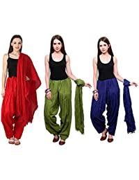 Mango People Products Combo Of Red,Mehandi,& ROYAL Blue Colour 3 Indian Readymade Patiala Salwar Dupatta Set.