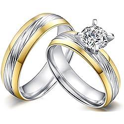 AnazoZ Alliance Homme Femme Couple Ring 2PCS Set Acier Inoxydable Two Tone Solitaire Zirconia Bague de Mariage pour Deux Amour Cœurs Plaqué Or Femme Taille 52 & Homme Taille 62.5